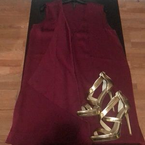 Bcbg cranberry asymmetrical dress